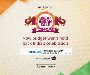 Amazon Great Indian Sale upto 80% OFF from 19 Jan to 22 Jan 2020